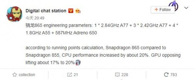 Утечка раскрыла основные характеристики SoC Snapdragon 865