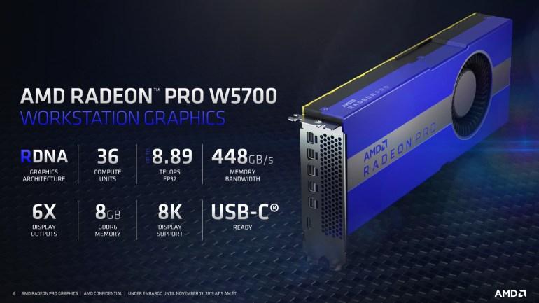 AMD анонсировала профессиональную видеокарту Radeon Pro W5700 на базе архитектуры Navi