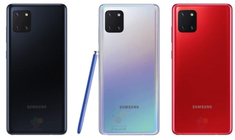 Samsung Galaxy Note10 Lite (он же Galaxy A81) с квадратной камерой красуется на официальных изображениях в трех цветах