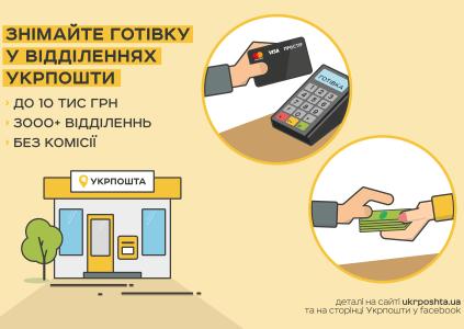 В отделениях «Укрпошты» можно снимать наличные с банковских карт