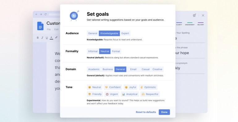 Grammarly обновила функциональность сервиса для Google Docs, добавив выбор цели текста и расширенные рекомендации