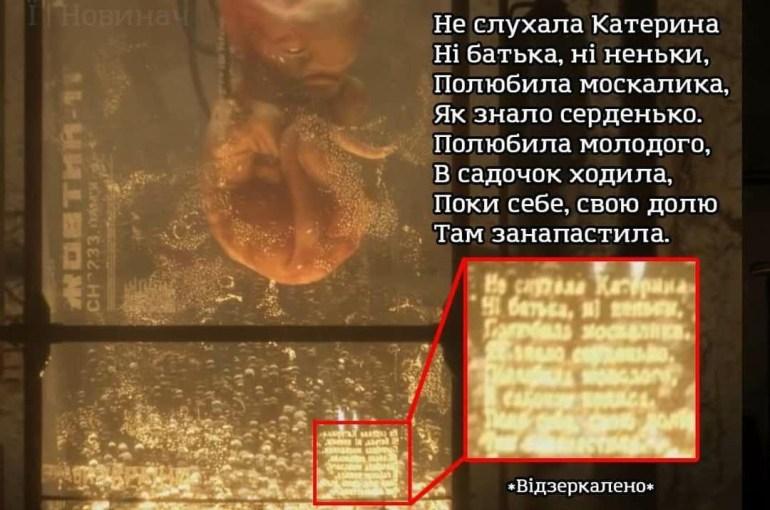 «Не слухала Катерина.... полюбила москалика». На одному зі скріншотів S.T.A.L.K.E.R. 2 помітили уривок з твору «Катерина» Тараса Шевченка