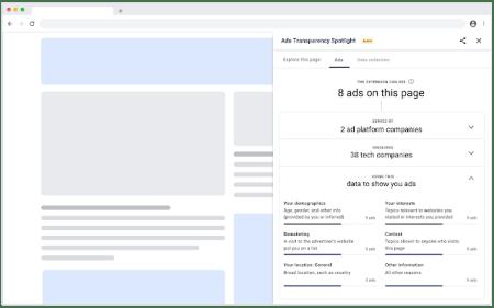 Расширение Ads Transparency для Chrome показывает, какую рекламу видит пользователь и почему
