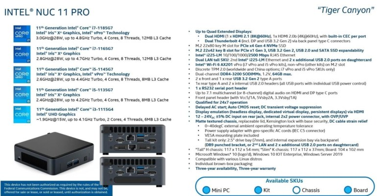Стали известны характеристики грядущих компактных систем Intel NUC 11 PRO Tiger Canyon