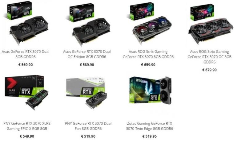 Видеокарты GeForce RTX 3070 появились в каталогах ряда европейских ритейлеров — €520-€680