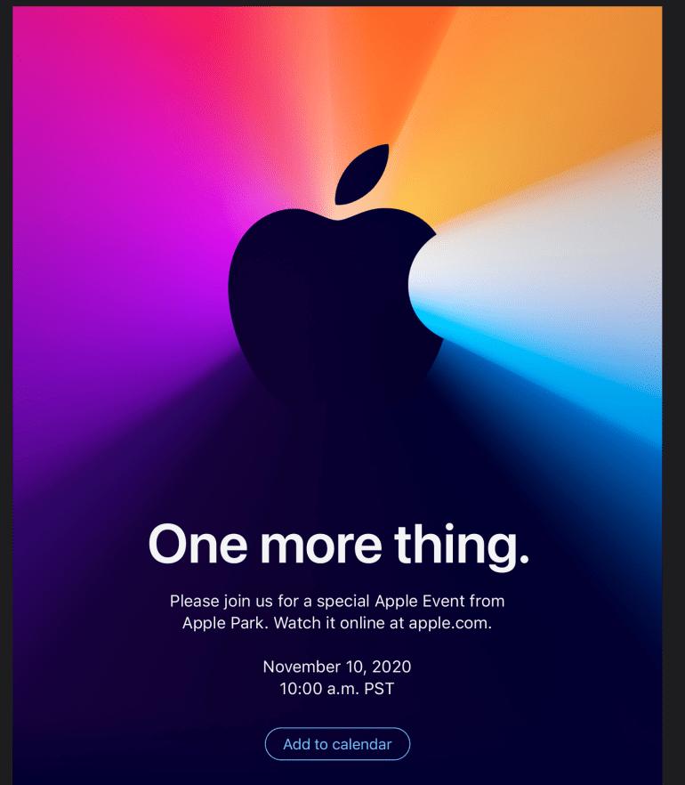 Apple пригласила на третью осеннюю презентацию One More Thing — она пройдет 10 ноября