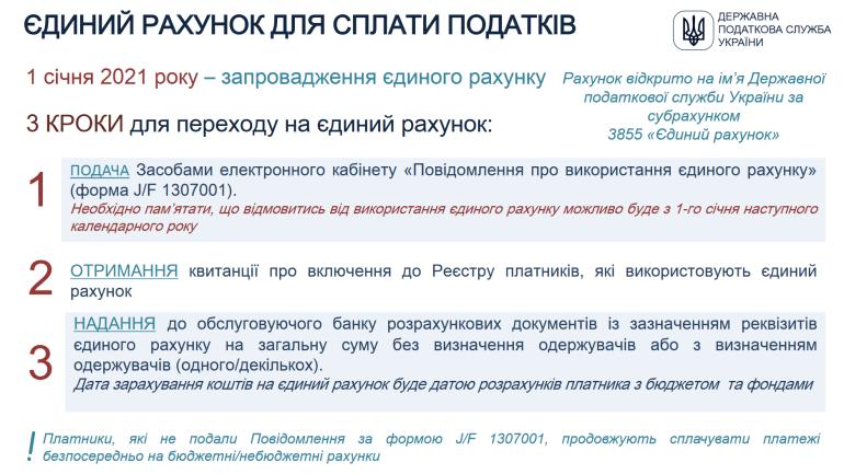 Налоговая: С 1 января 2021 года в Украине вводится единый счет для уплаты налогов (как перейти на него и как остаться на старой схеме)