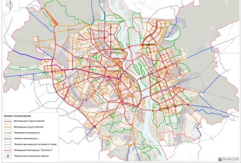 Генплан Киева представил карту будущих веломаршрутов столицы - к 2025 году их протяженность увеличат до 375 км, к 2040 году - до 1185 км (сейчас - 65 км)