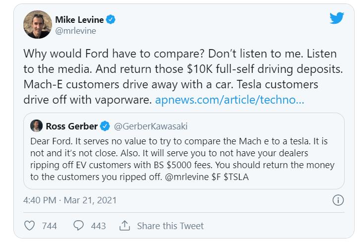 Представитель Ford назвал автопилот Tesla Full Self-Driving «фантомным» продуктом