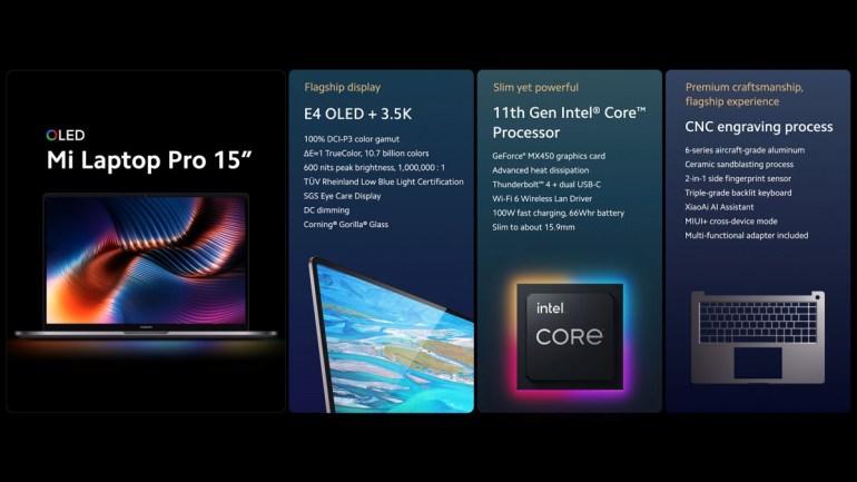 Xiaomi анонсировала ноутбуки Mi Laptop Pro с 15-дюймовым E4 OLED и 14-дюймовым LCD (120 Гц) дисплеями