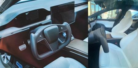 В сети появились реальные фото салона обновленной Tesla Model S со спорным рулем-штурвалом