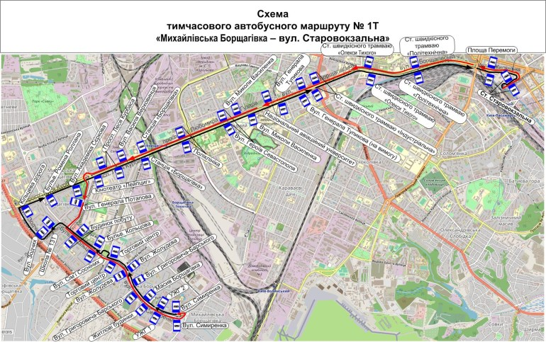 З завтрашнього дня і до кінця літа перестане ходити швидкісний трамвай на Борщагівку (тимчасові автобуси, схеми руху)