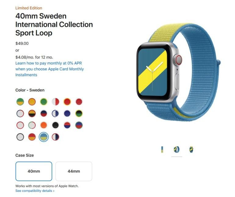 К Олимпиаде Apple выпустила международную коллекцию ремешков для Apple Watch в цветах 22 стран (там нет Украины, но есть Швеция)