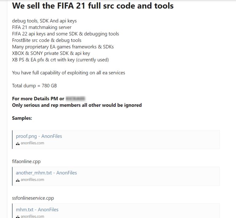 Хакеры украли у Electronic Arts исходный код FIFA 21, движок Frostbite и инструменты разработки