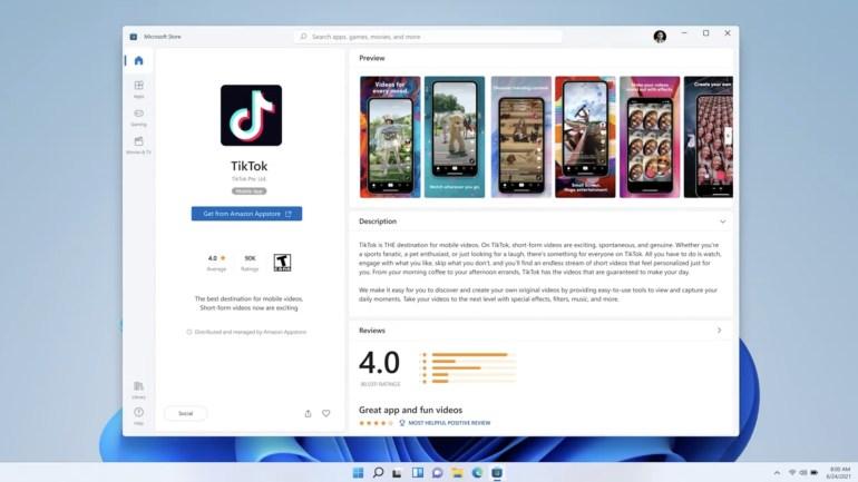 Windows 11 позволит запускать Android-приложения, устанавливаемые из Amazon Appstore