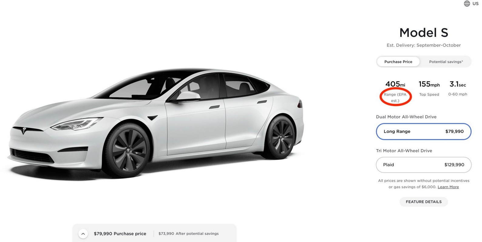 Tesla сократила дальность хода новейшей дальнобойной Model S Long Range на 7 миль — до 405 миль (650 км) по оценке EPA - ITC.ua