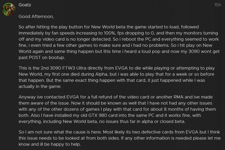 Игра New World выводит из строя некоторые видеокарты GeForce RTX 3090