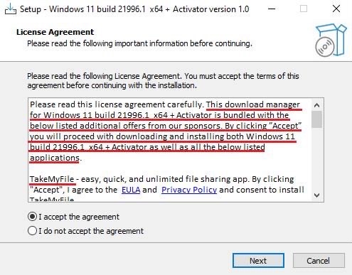 В сети распространяется «дистрибутив Windows 11 с активатором», предупреждающий об установке дополнительных программ
