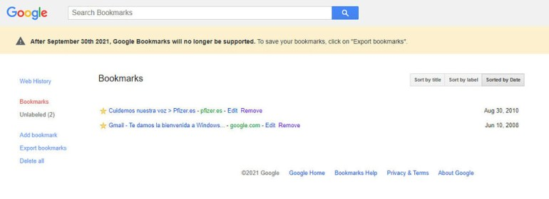 -1: Google закрывает отдельный сервис хранения закладок Google Bookmarks