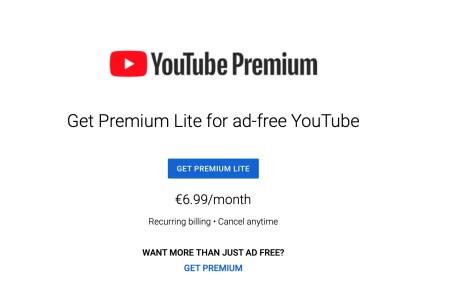 YouTube запустил экспериментальную подписку Premium Lite за 6,99 евро в месяц — с отключенной рекламой, но без офлайн-режима и других премиум-функций