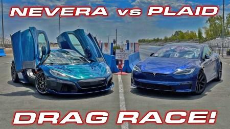 Электромобили Rimac Nevera и Tesla Model S Plaid устроили соревнования в драгрейсинге [видео]