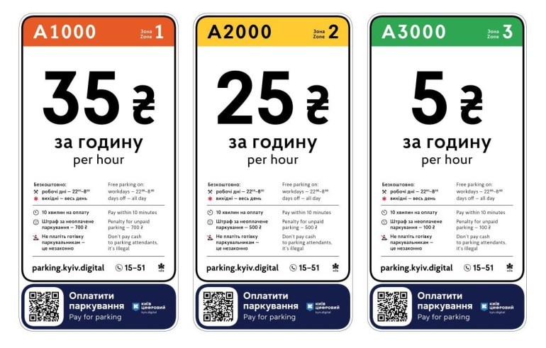 У Києві почали робити платним паркування на окремих вулицях (тариф - 5 грн в годину, 70 грн на день)