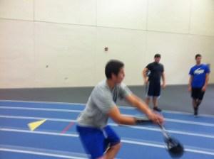 A dodgeball/weight throw hybrid.