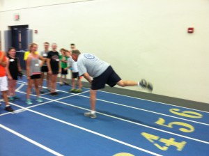 Coach Helberg takes pride in staying nimble at his advanced age.