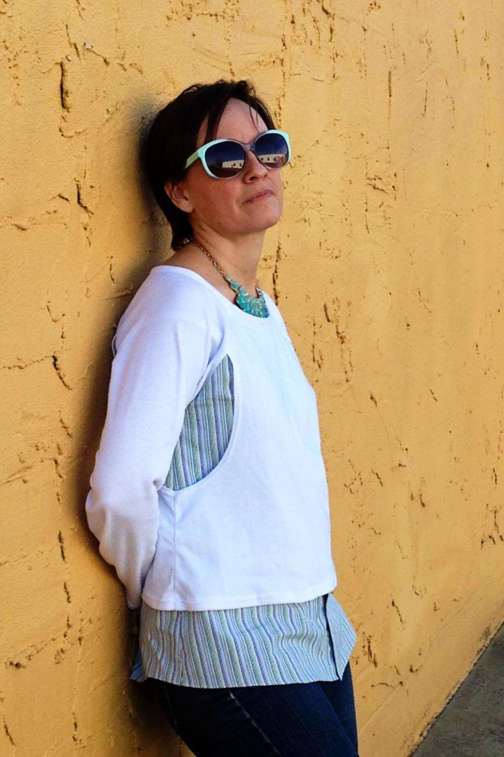 Anne's Paulina Top with upcycled button-down shirt
