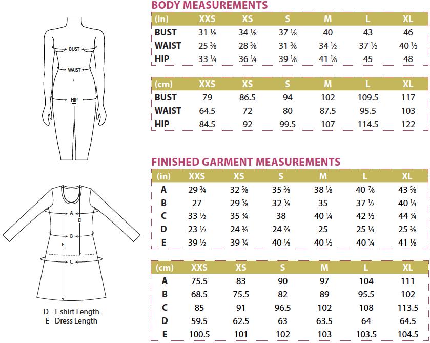 Idyllwild Body and Finished Garment Measurements