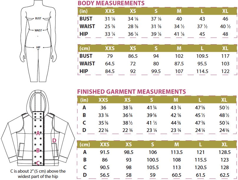 Jacqueline Hoodie Body and Finished Garment Measurements