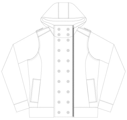 Itch To Stitch Jacqueline Hoodie PDF Sewing Pattern Line Drawing Front