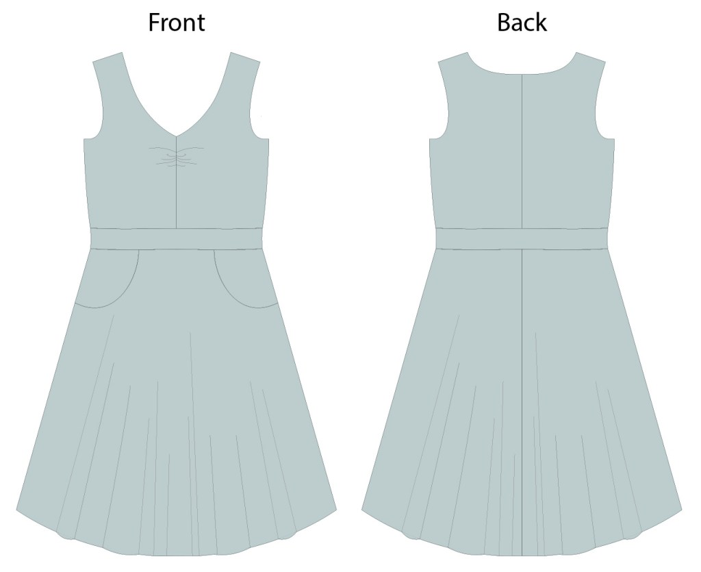 Itch to Stitch Davina Dress Line Drawings - Front and Back