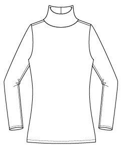 Itch to Stitch Hepburn Turtleneck Line Drawing Front