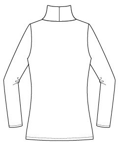 Itch to Stitch Hepburn Turtleneck Line Drawing Back