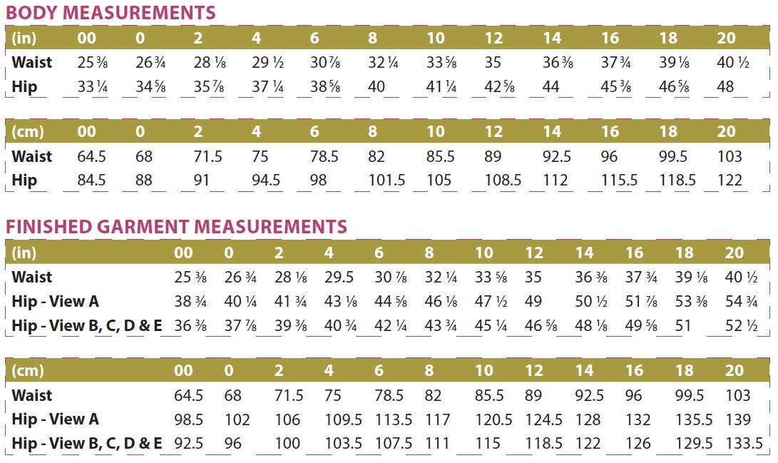 Belize Shorts & Skort Body and Finished Garment Measurements