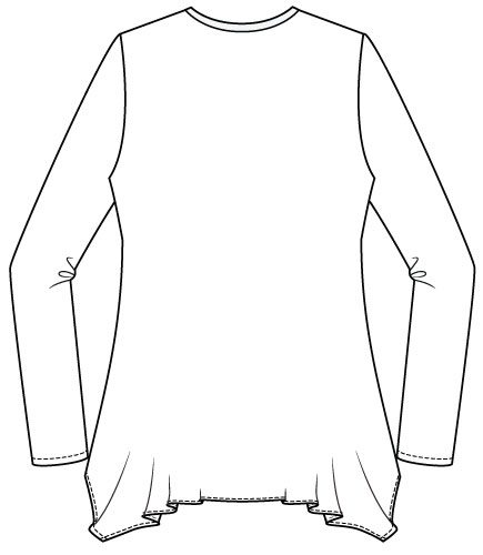 Arenal Top PDF Sewing Pattern Handkerchief Hem Option Back Line Drawing