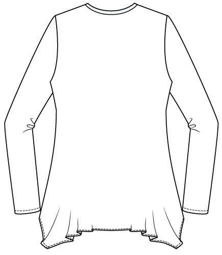 Arenal Top PDF Sewing Pattern Handkerchief Hem Option Back Line Drawing