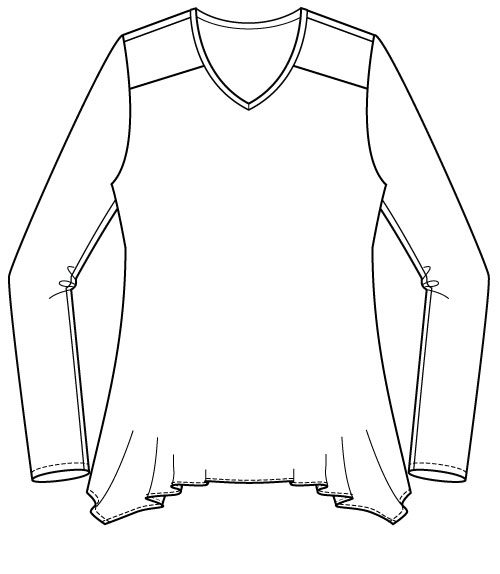 Arenal Top PDF Sewing Pattern Handkerchief Hem Option Front Line Drawing