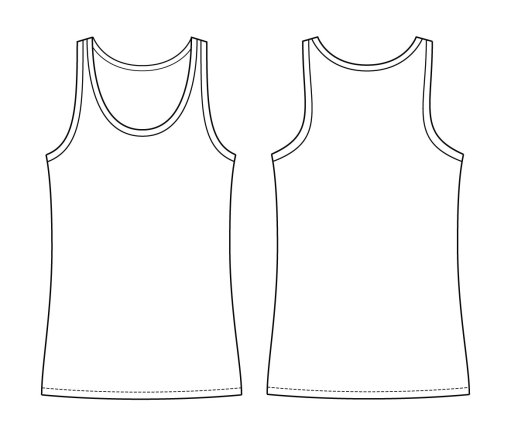 Itch to Stitch Lago Tank Line Drawing