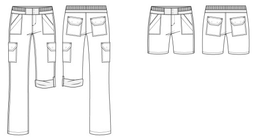 Itch to Stitch Sequoia Cargos and Shorts Line Drawing