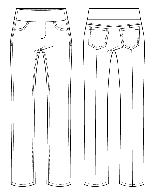 Itch to Stitch Mountain View Pull-on Jeans PDF Sewing Pattern Line Drawing