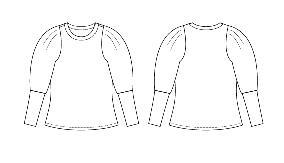 Itch to Stitch Busan Top PDF Sewing Pattern Line Drawing