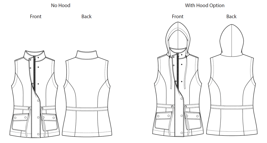 Itch to Stitch Envigado Vest PDF Sewing Pattern Line Drawing