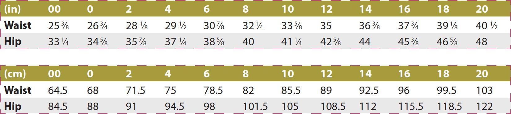 Samara Pants PDF Sewing Pattern Body Measurements