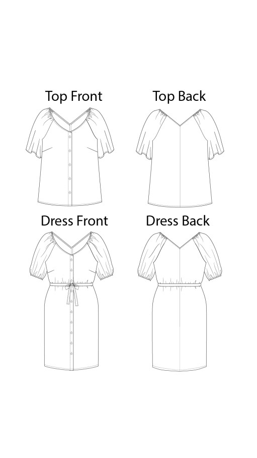 Itch to Stitch Kosice Top & Dress PDF Sewing Pattern Line Drawings
