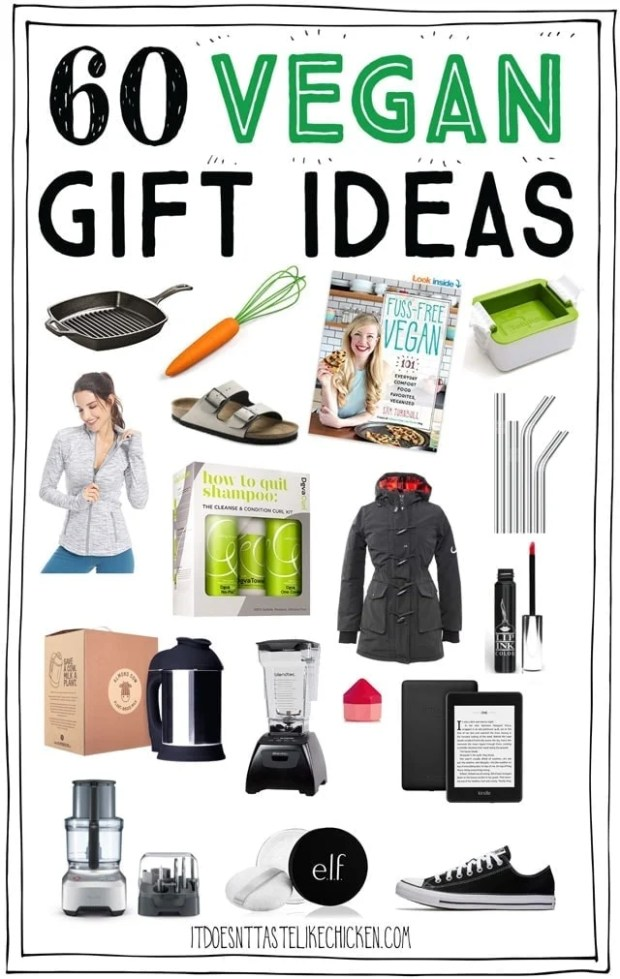 60 Vegan Gift Ideas!! Whether you are vegan or shopping for a vegan, this vegan gift guide will help you find the perfect present. Gift ideas for cooks, athletes, a little pampering, fashion, and homemade treats as well. #itdoesnttastelikechicken #giftideas #giftguide #veganchristmas