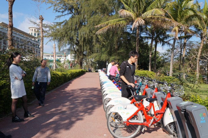 The most successful systems have over 5000 bicycles, like at this docking point in Shenzhen, China.