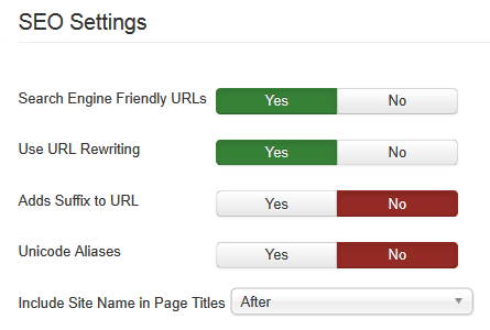 joomla seo settings