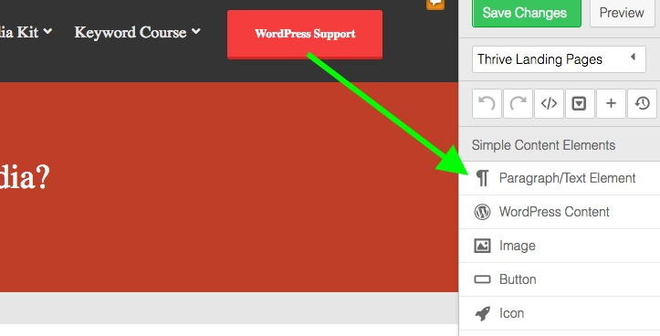 How to add text with Thrive Content Builder